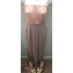 Forever 21 crop top light pink & gray long dress